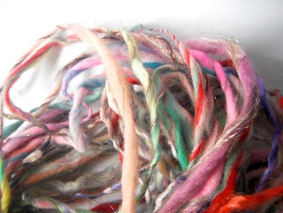 wool spinning handspun yarn .. 48 meters or 52 yards rainbow art yarn .. sweetheart stew