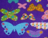 Butterfly Fleece Fabric - Purple 22 x 62 Destash