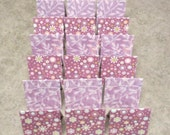 18 Mini Cards - blank for thank you notes - purple floral leaves