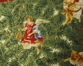 Christmas Nativity Angels Fabric - 1 yard - dark green