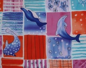 Dolphin penguin whale fabric - 1 7/8 yards