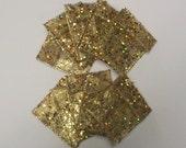 10 Ribbon Pouches - Gold Glitter