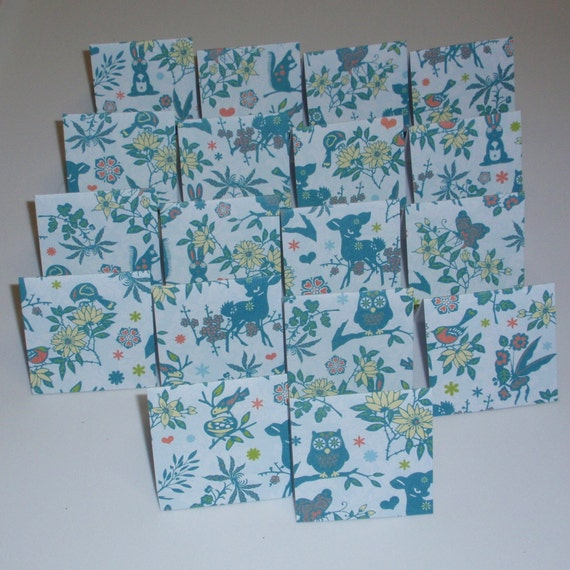 18 Mini Cards - blank for thank you notes - wildlife