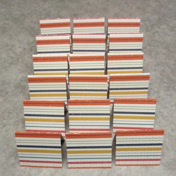 18 Mini Cards - blank for thank you notes - bright stripe