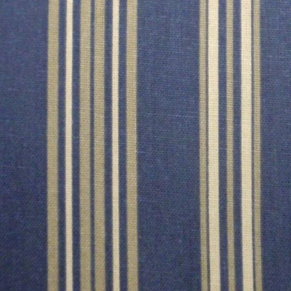 Navy Tan Stripe Fabric - 1 1/4 yards