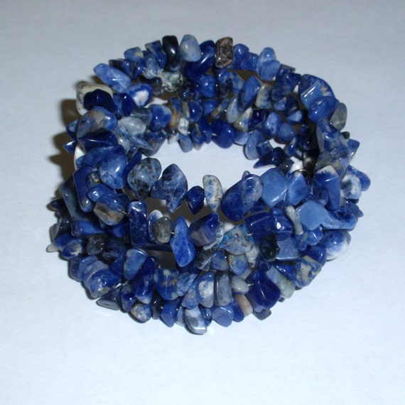 Sodalite bead bracelet memory wire and matching earrings