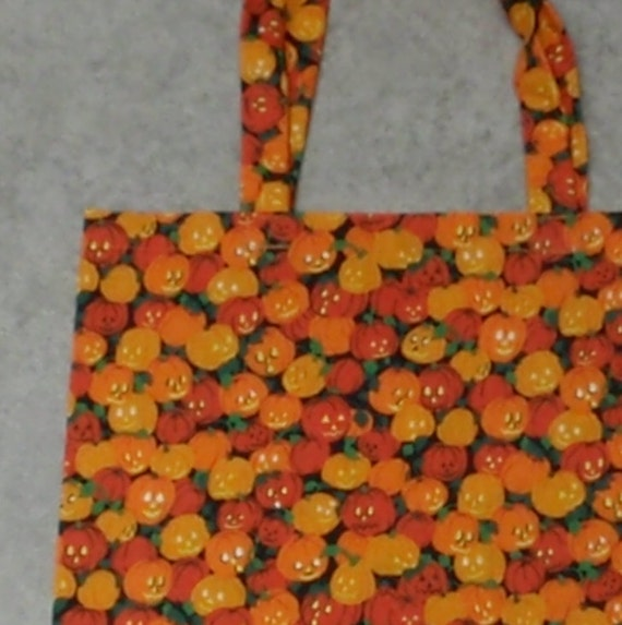 Halloween pumpkin tote and craft supplies