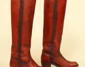 ViNtAgE 70's Frye Campus Stacked Heel Braided Boots sz. 5 1/2 B