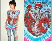 GRATEFUL DEAD Bertha Roses Tie Dye DiY TUNIC T-Shirt