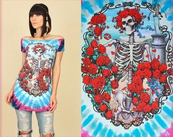 Grateful Dead T-Shirt Womens Tie DyeTunic // DiY Ship Of Fools Tee // Hippie Psychadelic BoHo Deadhead
