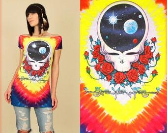 Grateful Dead T-Shirt Womens Tie DyeTunic // DiY Space Your Face Tee // Hippie Psychadelic BoHo Deadhead