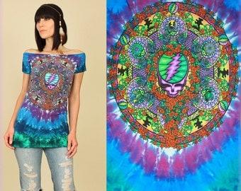 Grateful Dead T-Shirt Womens Tie DyeTunic // DiY Celtic Mandala Tee // Hippie Psychadelic BoHo Deadhead