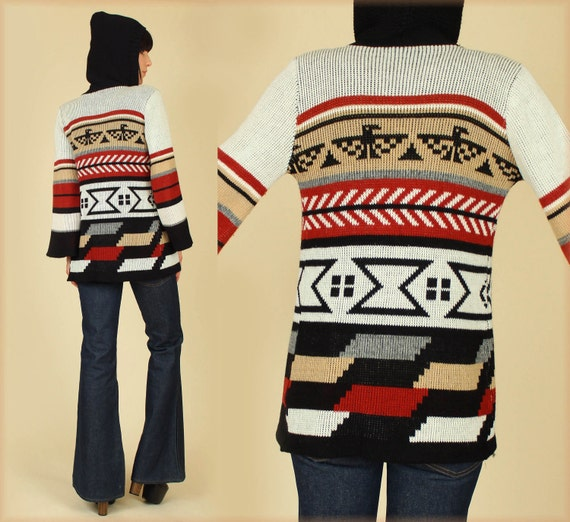 Vintage 70's THUNDERBIRD Hooded Tribal Sweater Bell Sleeves