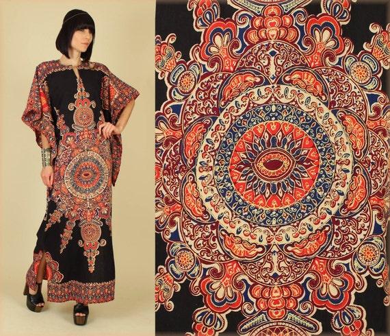 ViNtAgE 70's Black Cotton DASHIKI Hippie Maxi Gypsy Dress