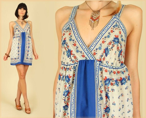 ViNtAgE 70's Cotton Hippie Scarf Gypsy Mini Dress