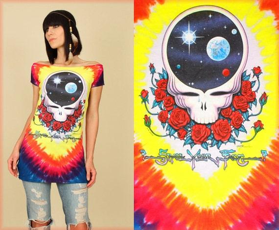 GRATEFUL DEAD Space your Face Tie Dye TUNIC T-Shirt
