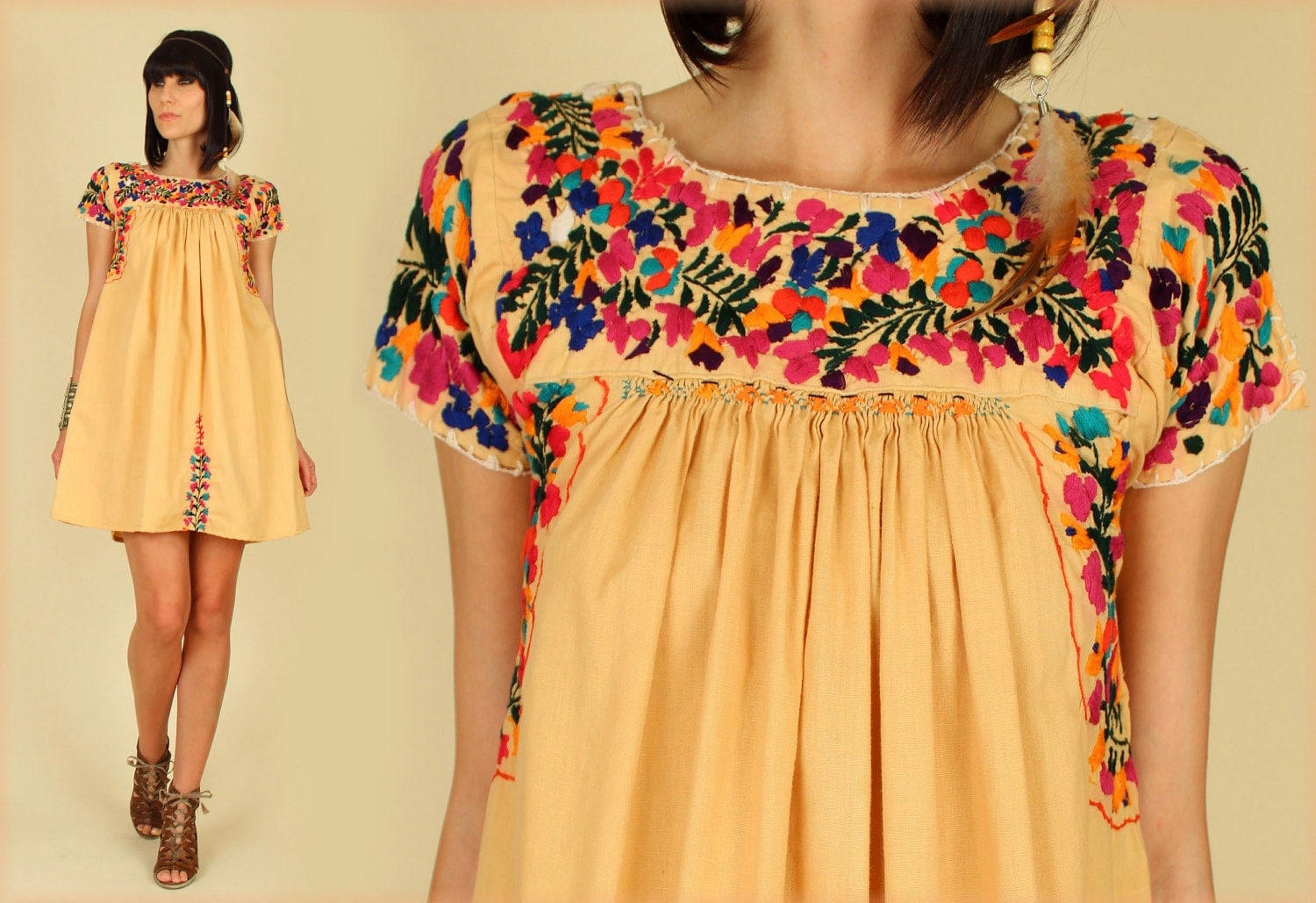 ViNtAgE 70's Oaxacan Floral Mexican Embroidered MiNi Dress