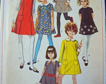 Vintage Simplicity pattern Girls size 7  Dress  and Jumper 1968 UNCUT