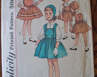 Vintage Simplicity pattern Childs size 4 Jumper Blouse and Hat 1950s