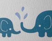Elephants letterpress card by Three Red Hens (1)