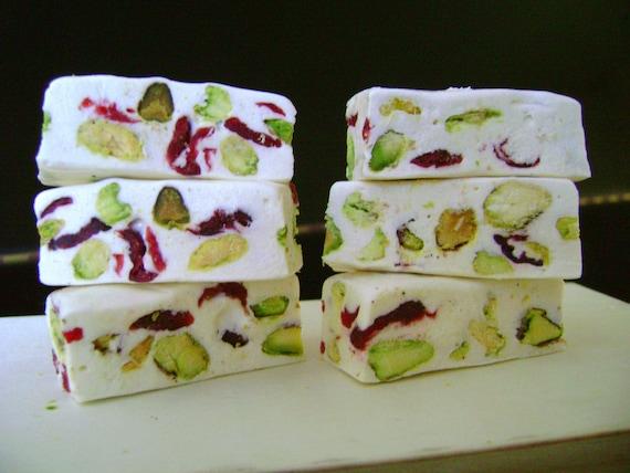 French Pistachio-Cranberry Nougat Candy - Soft -1 LB - approx. 32 pieces