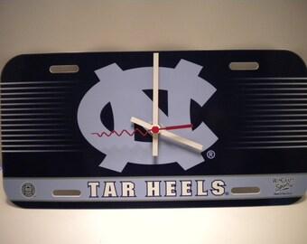 North Carolina Tar Heels.......License Plate Clock