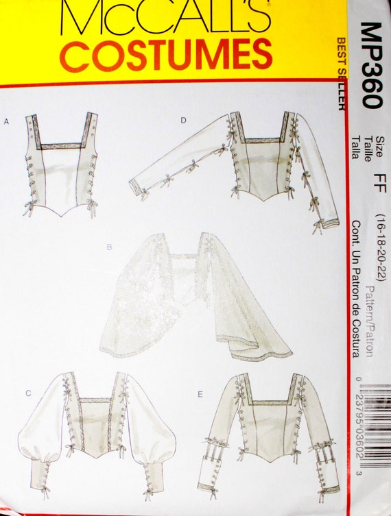 Renaissance Costume Bodice Pattern - out of print - 16 18 20 22