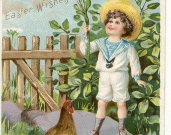 Vintage 1907 Easter post Card  Easter boy birds  Raphael Tucks