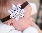 Brown Dot Bloom Headband