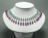 Crystal Choker in Fuchsia and Indian Sapphire (free shipping)