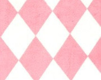 "Minky Fabric...Pink and White Harlequin Diamond Minkee by Michael Miller...sold by the yard 60"" long"