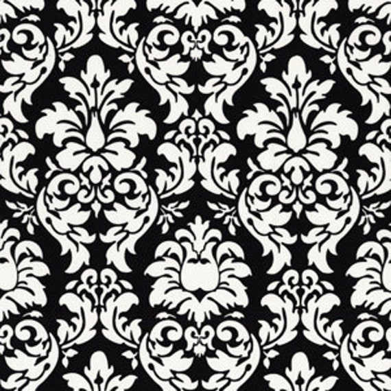 """Cotton Fabric - Black and White Dandy Damask - End of Bolt Cut - Fat Quarter -  8.5""""x42"""""""