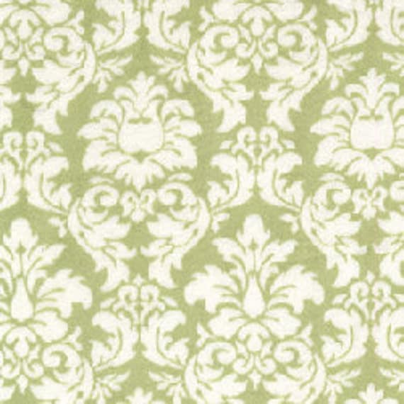 "Minky Fabric...Sage Green and White Dandy Damask Minkee by Michael Miller...sold by the yard 60"" long"