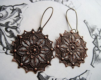 Gothic Gorgeous in Copper Earrings Filigree Dangle Bohemian Jewelry