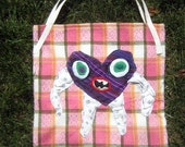 The Heart Monster Tote Bag - Purple Stripes
