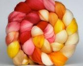 FIRECRACKER, superwash merino wool hand dyed roving