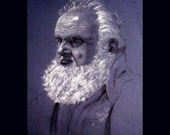 Summer Santa in Blue Drawing