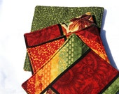 Autumn Leaves 2 sided Fabric Coasters Set of 4