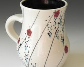 Porcelain Mug with Curved Stripes and Floral