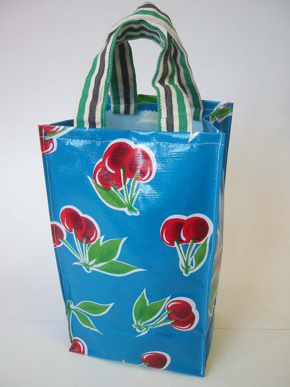 Oilcloth Lunch Bag Blue With Cherries With Handles Back To