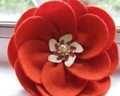 Red Orange Felt Flower Brooch