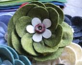 Fern Green Felt Flower Brooch with Vintage Button