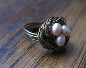 Vintaj Brass Wire Birds Nest Ring with Pink Pearls