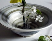 Ceramic and Pottery,Ikebana bowl,cream white with stripes