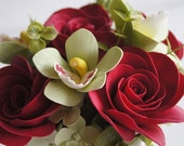 Wedding Reception Flowers. Red Rose and Orchid Arrangement. Table Settings. Made-to-Order