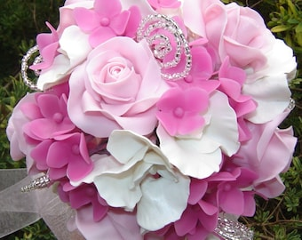 Pink Rose White Sweet Pea and Hot Pink Hydrangea Wedding Bouquet Bridal bouquet Handmade Clay Flowers Made to Order