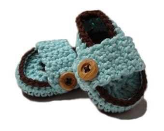 Booties and crib shoes Crochet Baby Booties ready to ship , Crochet Baby boy shoes, aqua and brown slippers,  loafers 0-3 mos ready to ship