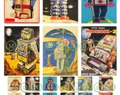 Vintage Sci Fi Retro Robots No. 2 Digital Download Collage Sheet  1x, 1x2 and atc sized- DIY You Print - INSTANT DOWNLOAD