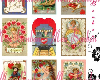 Vintage Retro Valentines Cards Collage Sheets - DIY you print - INSTANT DOWNLOAD