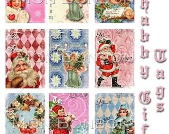 Digital Download of 9 Christmas Shabby Holiday Gift Tags - DIY Printable - INSTANT DOWNLOAD